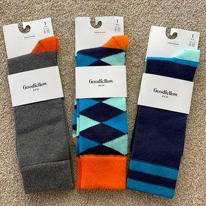 Three Trendy Men's socks for 6-12 shoe sz